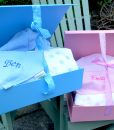 Baby hamper personalised bib with bathrobe blanket