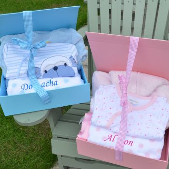 Personalised hamper baby grow bathrobe blanket