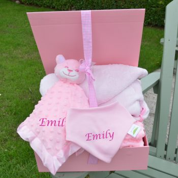 Personalised girl hamper bathrobe comforter bib