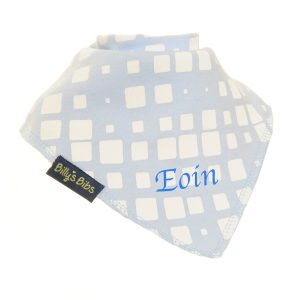 personalised extra absorbent bandana bib blue and white square