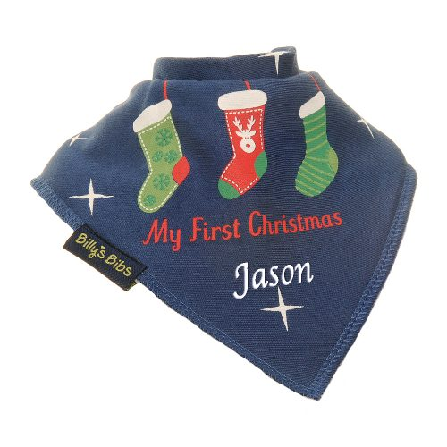 Personalised Christmas Stocking bib Navy