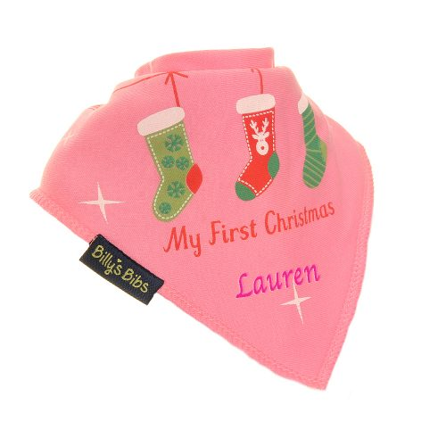 Personalised Christmas Stocking bib pink