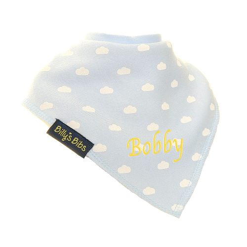 personalised extra absorbent bandana bib blue small cloud