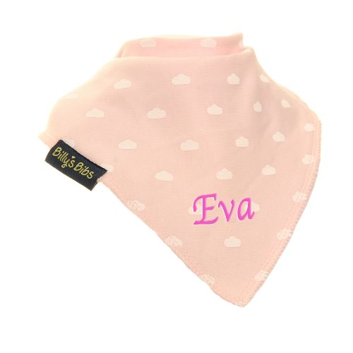 personalised extra absorbent Bandana billy's bibs Pink Clouds