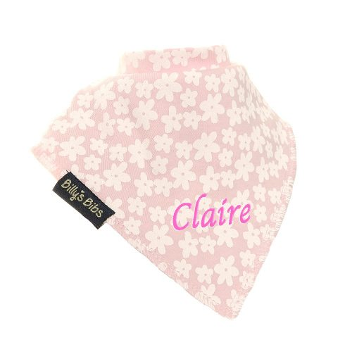 personalised extra absorbent bandana bib Pink Flowers