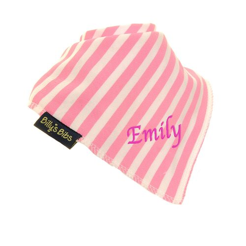 personalised extra absorbent Bandana billy's bibs Pink Stripe diagonal