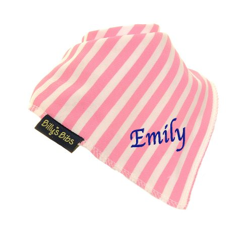 personalised extra absorbent Bandana billy's bibs Pink Stripe