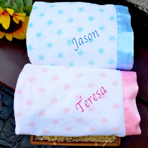 personalised fleece satin trim blanket