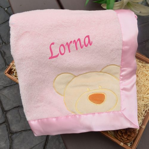 personalised Pink Teddy Blanket