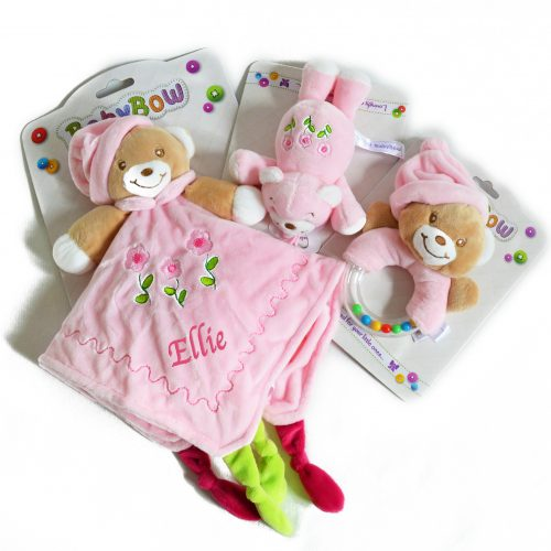 personalised pink teddy comforter rattle dummy holder