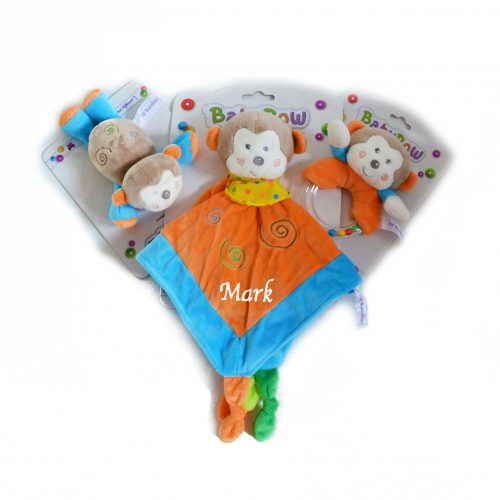 personalised monkey comforter rattle dummy holder