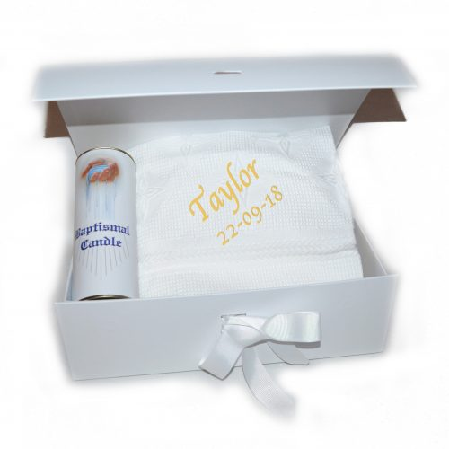 Personalised Christening shawl christening candle hamper