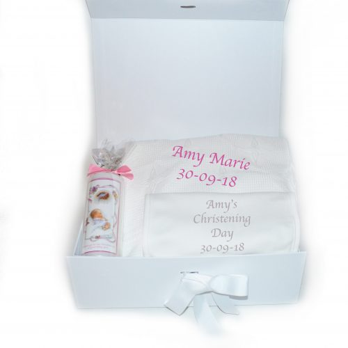 Personalised Christening shawl christening candle christening bib hamper