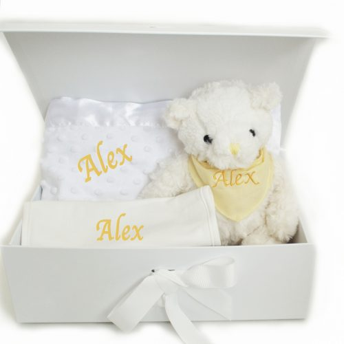 Neutral Hamper personalised bib blanket teddy