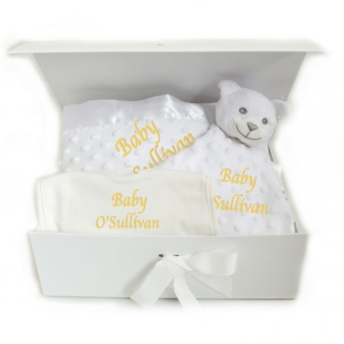 Neutral Hamper personalised bib blanket comforter