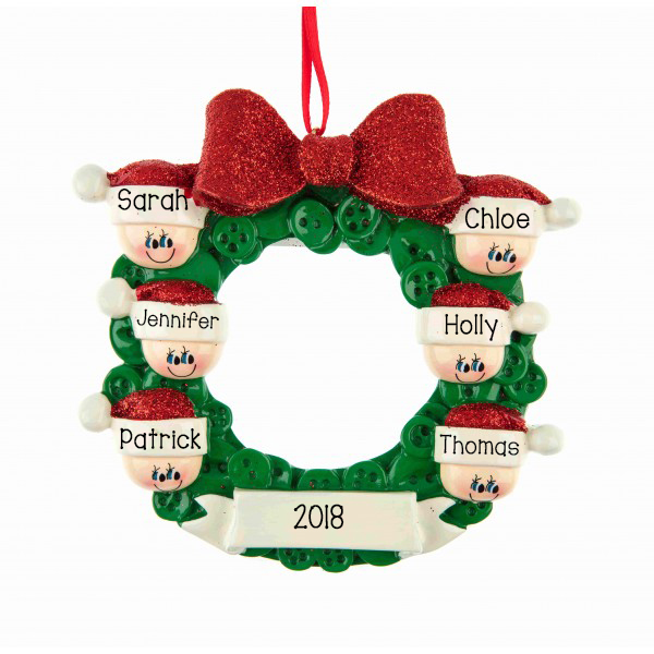 button wreath family of 6 personalised hanging christmas decoration