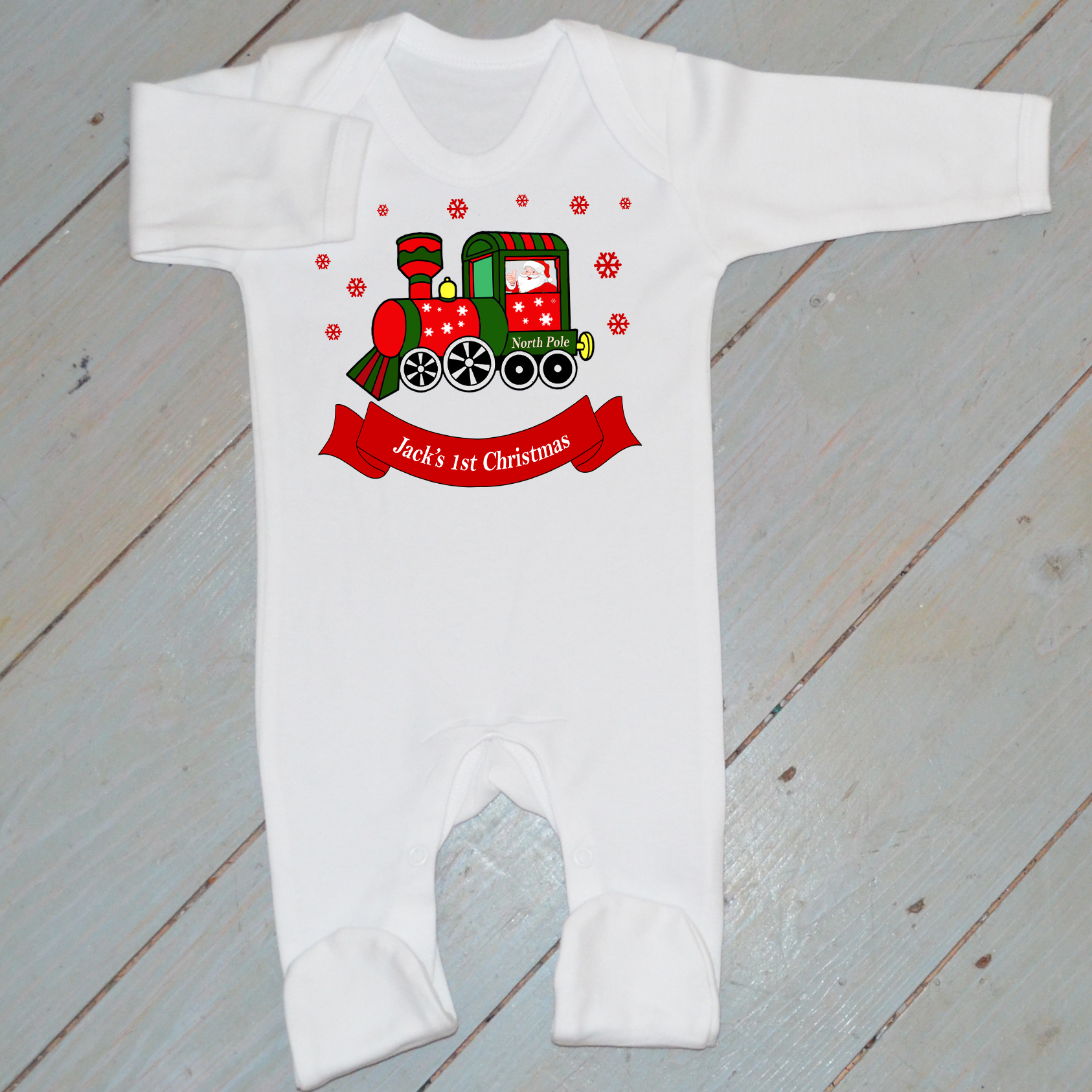 82d8823be602 Personalised Christmas Baby Grow- Santa Train (White)