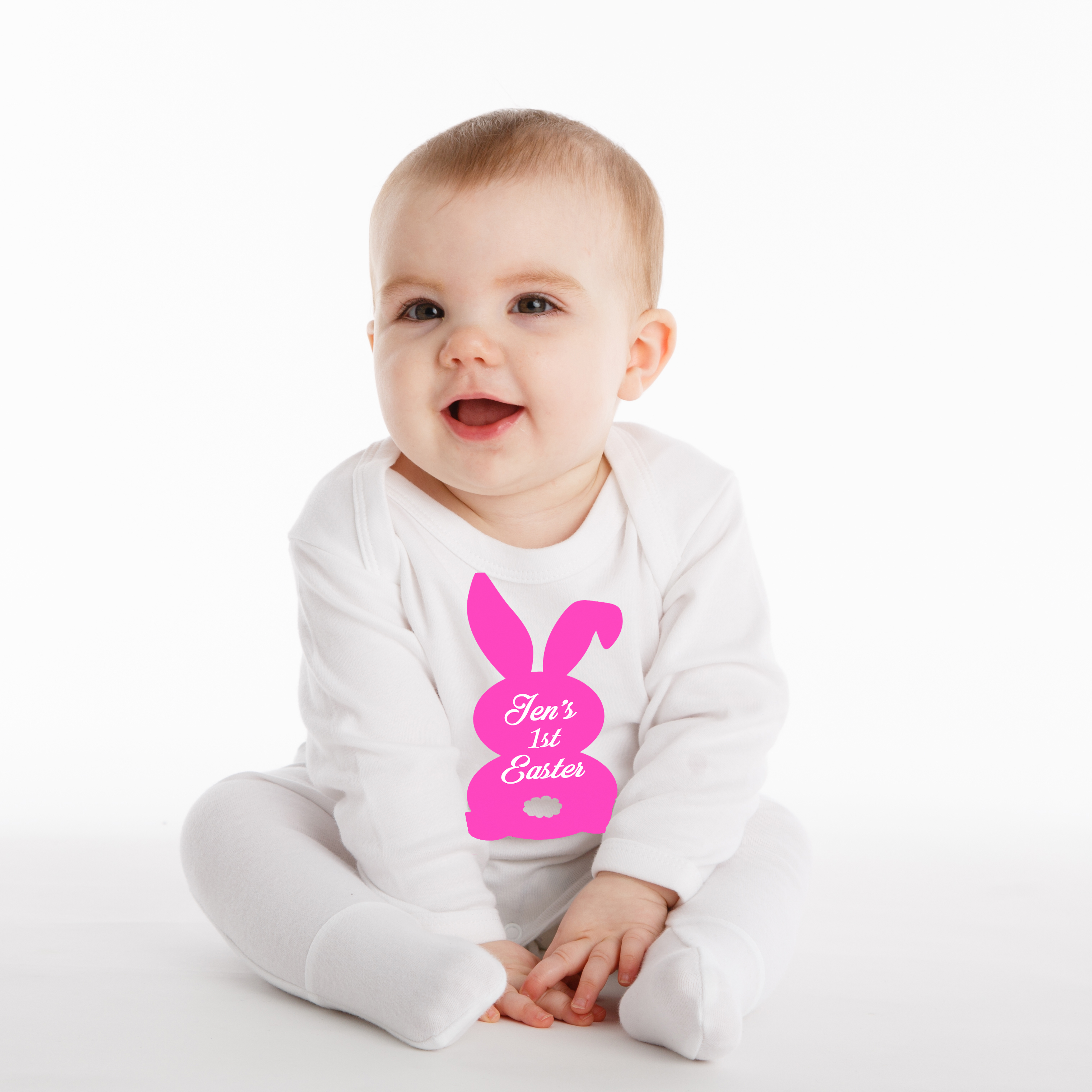 14fd0ef60 Personalised Easter Baby Grow - Bunny Silhouette | The Embroidery ...