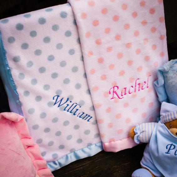 Personalised polka dot blanket with satin trim