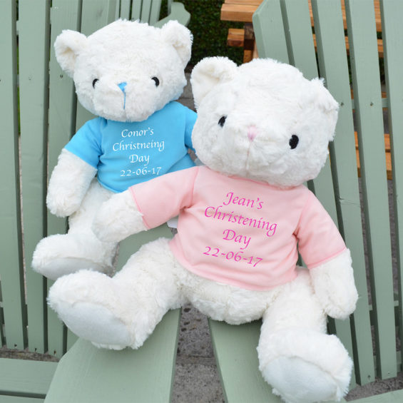 personalised christening teddy gift