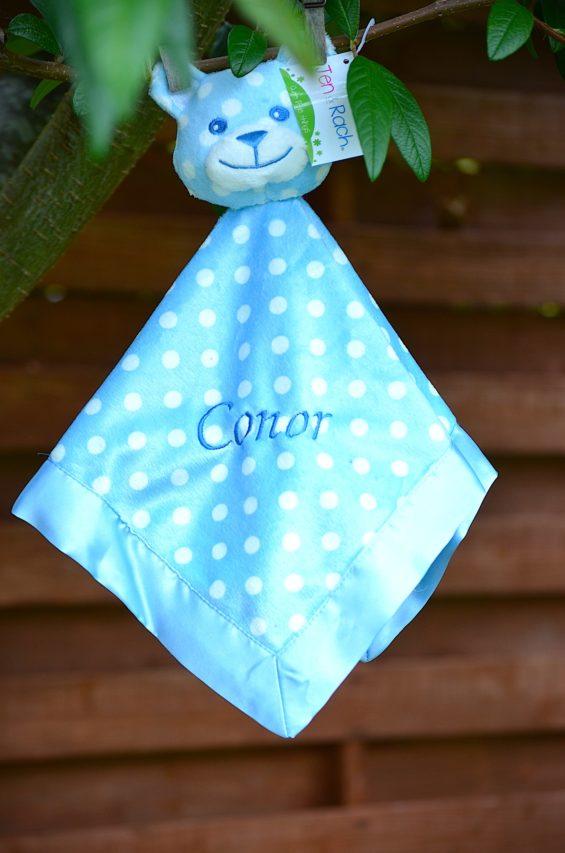 personalised baby polka dot comforter