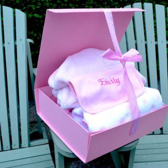 Baby girl hamper personalised bib with bathrobe blanket