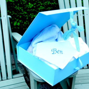 Baby boy hamper personalised bib with bathrobe blanket