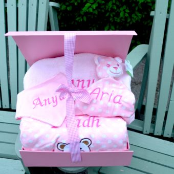 Baby hamper personalised bib blanket bathrobe comforter