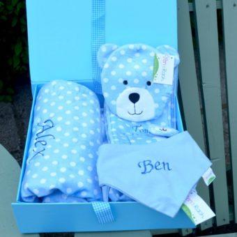 Baby hamper personalised bib height chart blanket