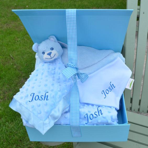 Personalised baby boy hamper bathrobe comforter bib