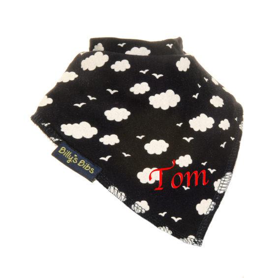 personalised extra absorbent bandana bib Black Clouds