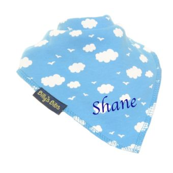 personalised billy's bib extra absorbent Blue Clouds