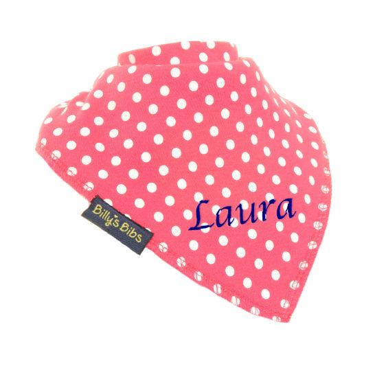 personalised extra absorbent bandana bib Bright Pink Polka