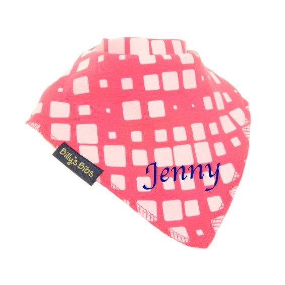 personalised extra absorbent bandana bib Bright Pink Squares white