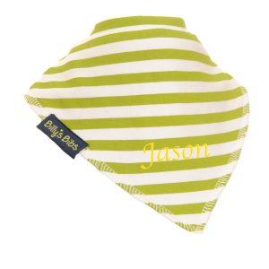 personalised extra absorbent bandana bib green Stripe