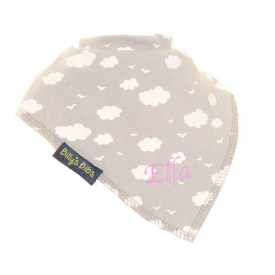 personalised extra absorbent bandana bib Grey Clouds