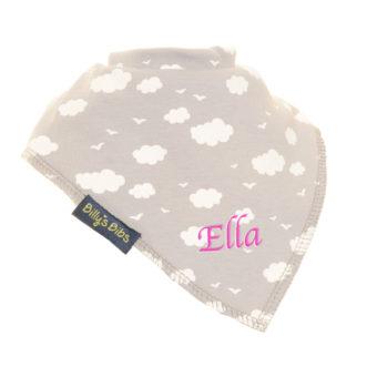 personalised extra absorbent bandana bib Grey Clouds