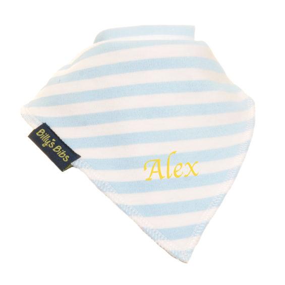 personalised extra absorbent bandana bib blue stripe