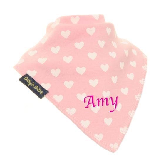 personalised extra absorbent bandana bib Pink Hearts