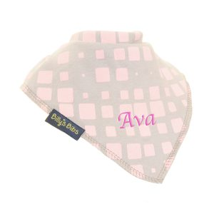 personalised extra absorbent bandana bib pink and grey