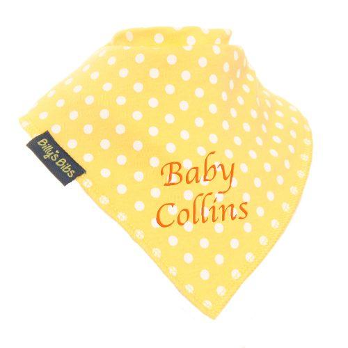 personalised extra absorbent bandana bib yellow polka