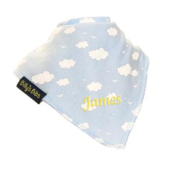 personalised extra absorbent bandana bib blue cloud