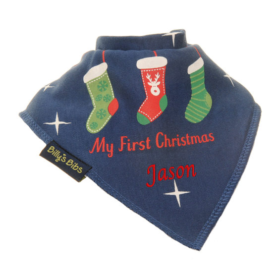 Personalised Christmas Stocking bib Navy