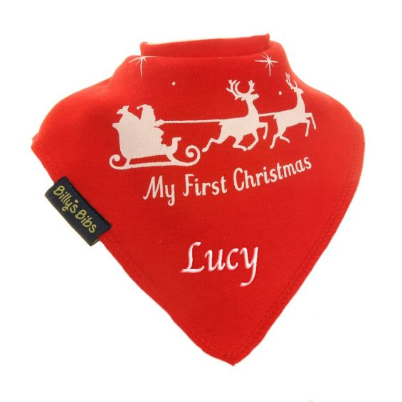 Personalised Christmas Santa Sleigh bib red