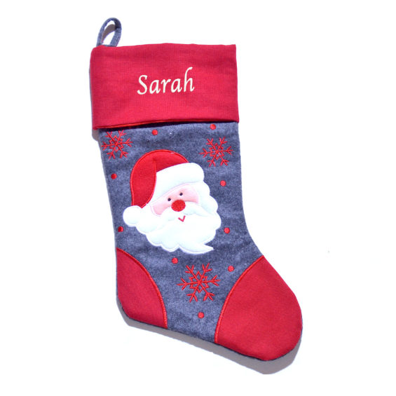 Personalised grey Santa Christmas stocking