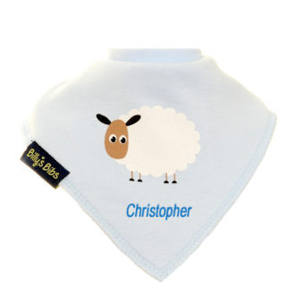 personalised extra absorbent bandana bib blue sheep