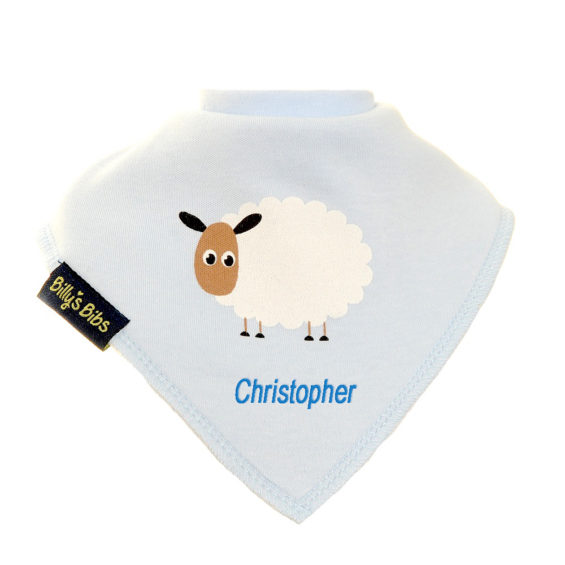 personalised extra absorbent bandana bib blue sheep
