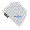 personalised extra absorbent Bandana billy's bibs Blue Stripe diagonal