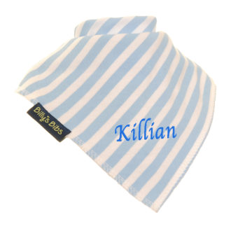 personalised extra absorbent Bandana billy's bibs Blue Stripe diagonal