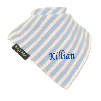personalised extra absorbent Bandana billy's bibs Blue Stripe